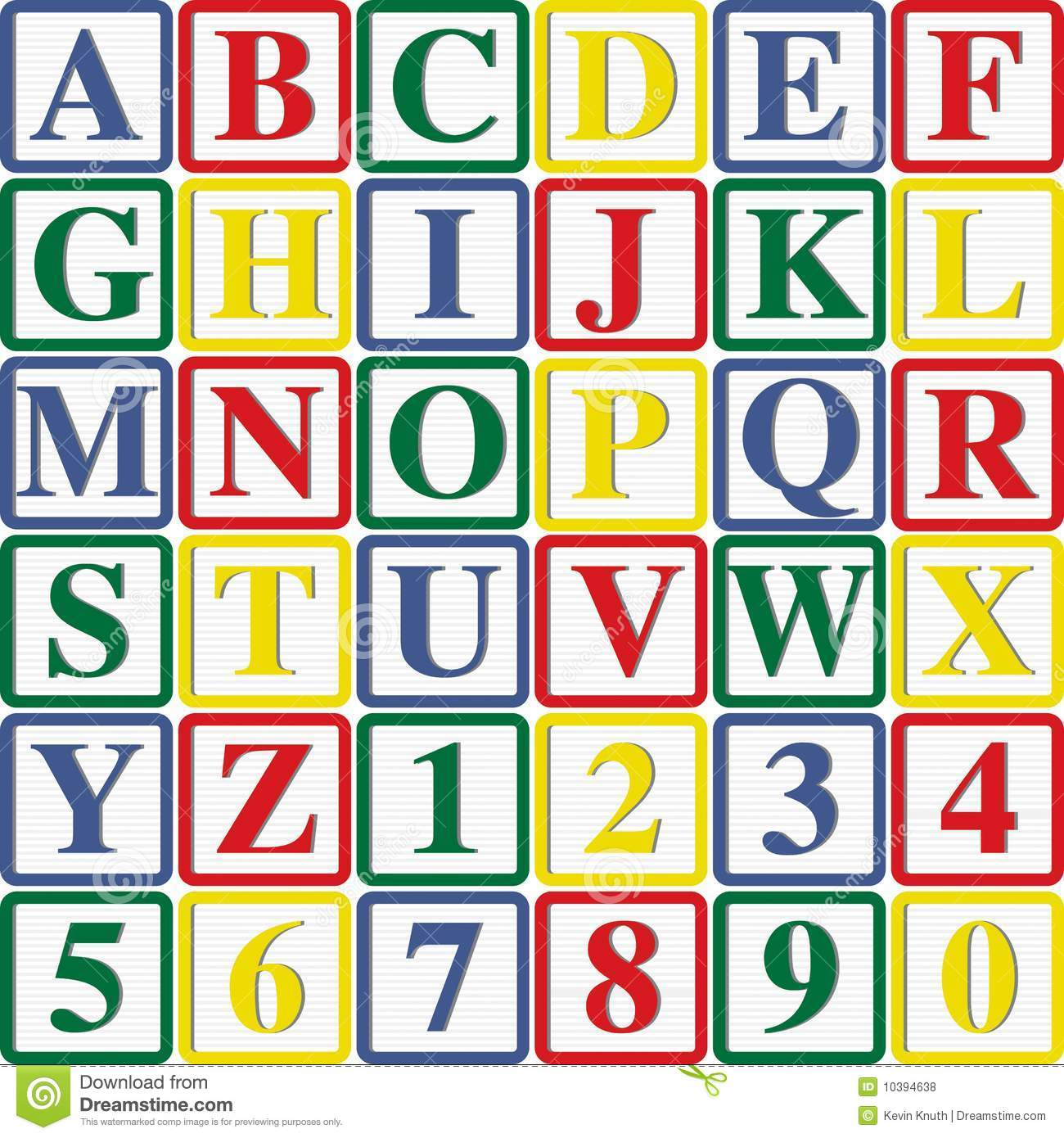 Baby Block Letters And Numbers Stock Illustration