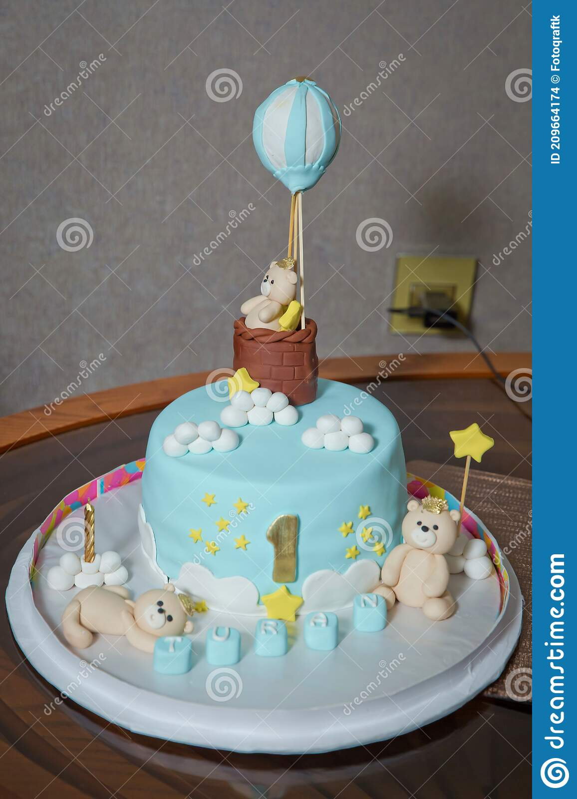 Baby Boy Bears Cake 1 Year Birthday Cake For A Blue Boy With A Number 1 Amazing Cake For Boy S First Birthday Blue Stock Photo Image Of Biscuit Table 209664174