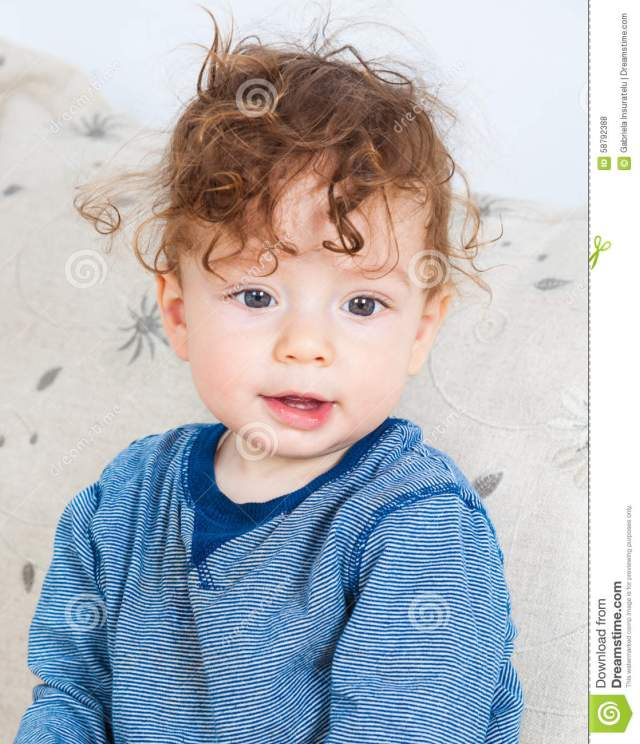 baby boy with curly hair stock photo. image of person - 58792388