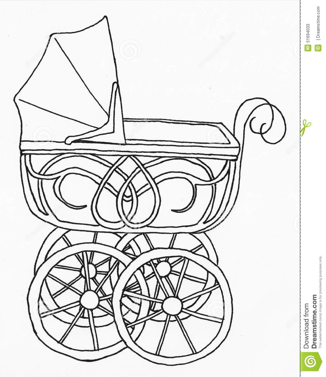 Baby Carriage Baby Stroller Lineart Stock Illustration