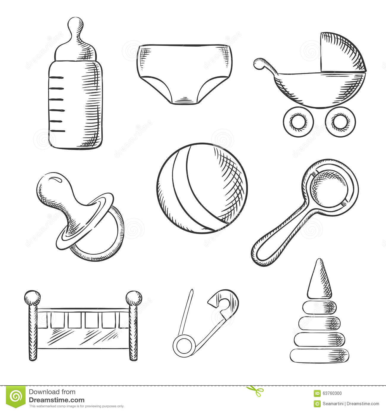 Baby And Childhood Sketched Icons Stock Vector