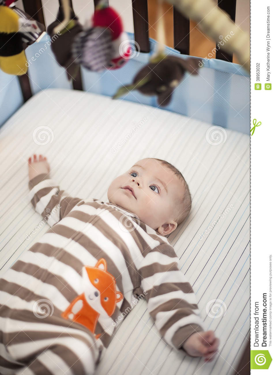 Baby In Crib Stock Photo Image Of Eyes Face Playing