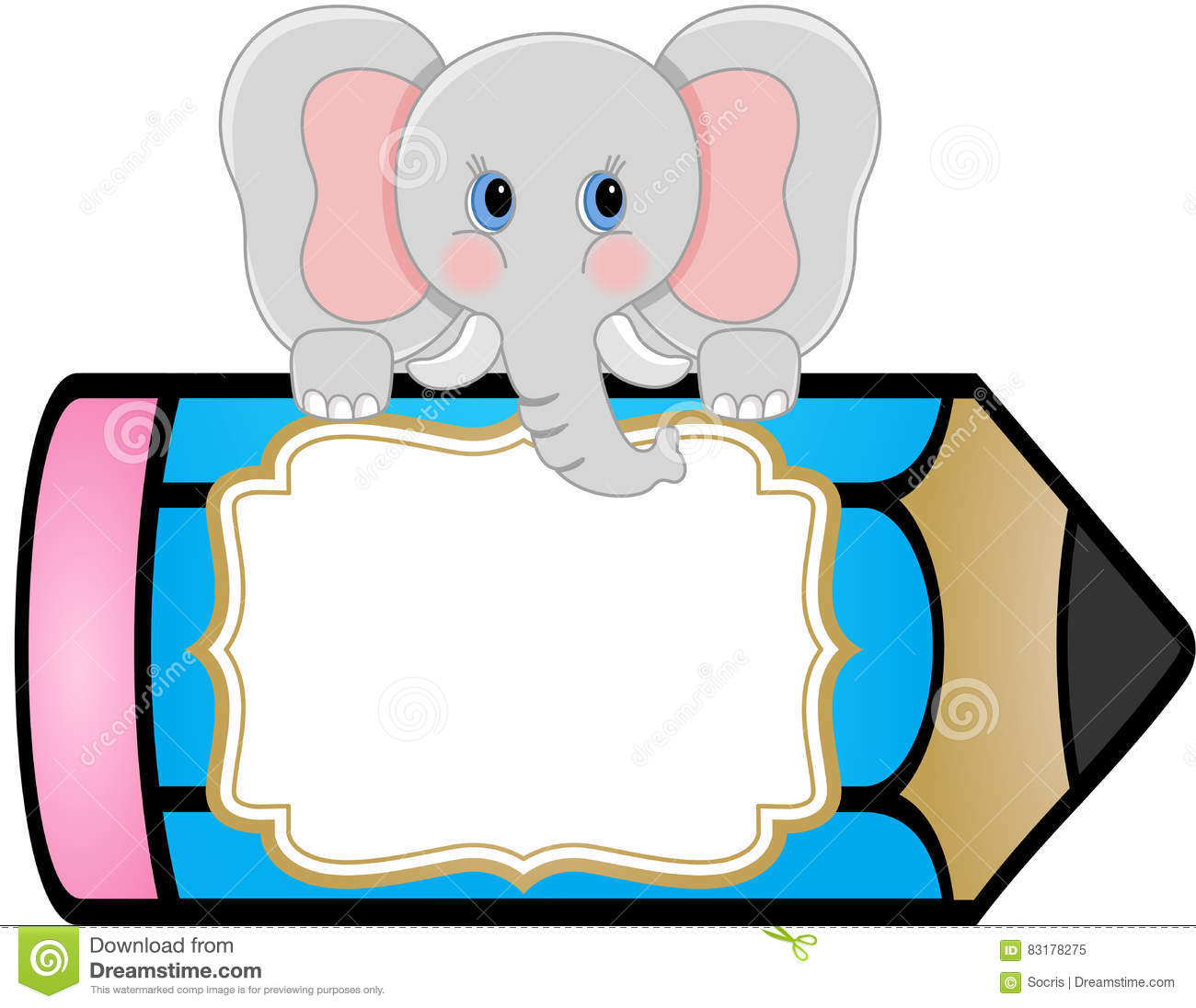Baby Elephant With Pencil Personalized Label Sticker Stock
