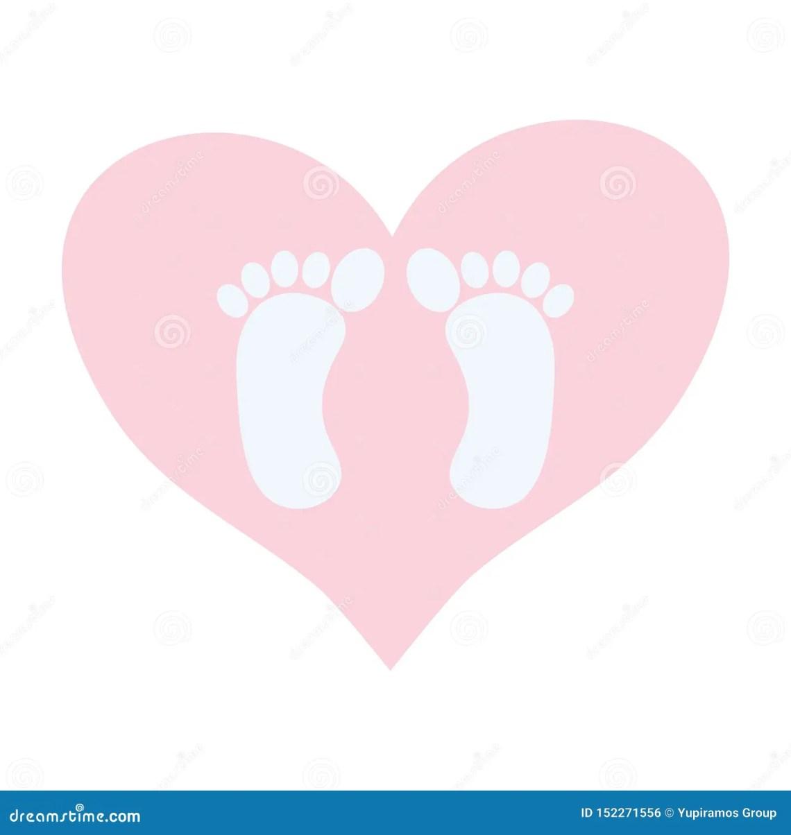 Download Baby Foot Prints In Heart Love Stock Vector - Illustration ...