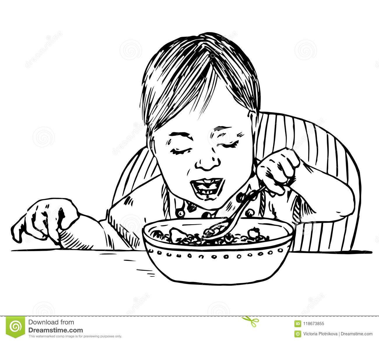 Baby Girl Sitting And Eating Porridge Spoon In Hand Stock