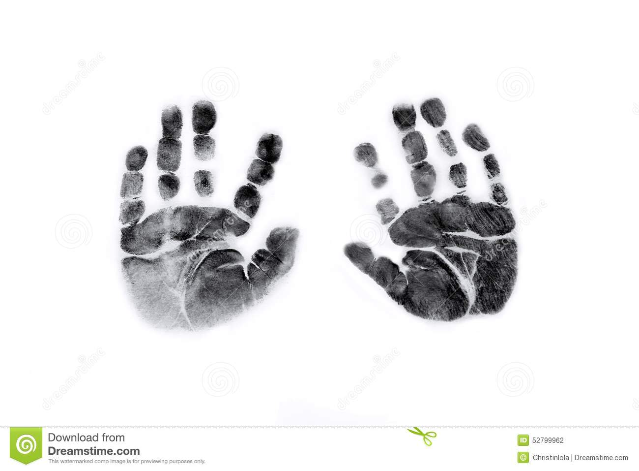 Baby Handprints In Black Ink Stock Photo