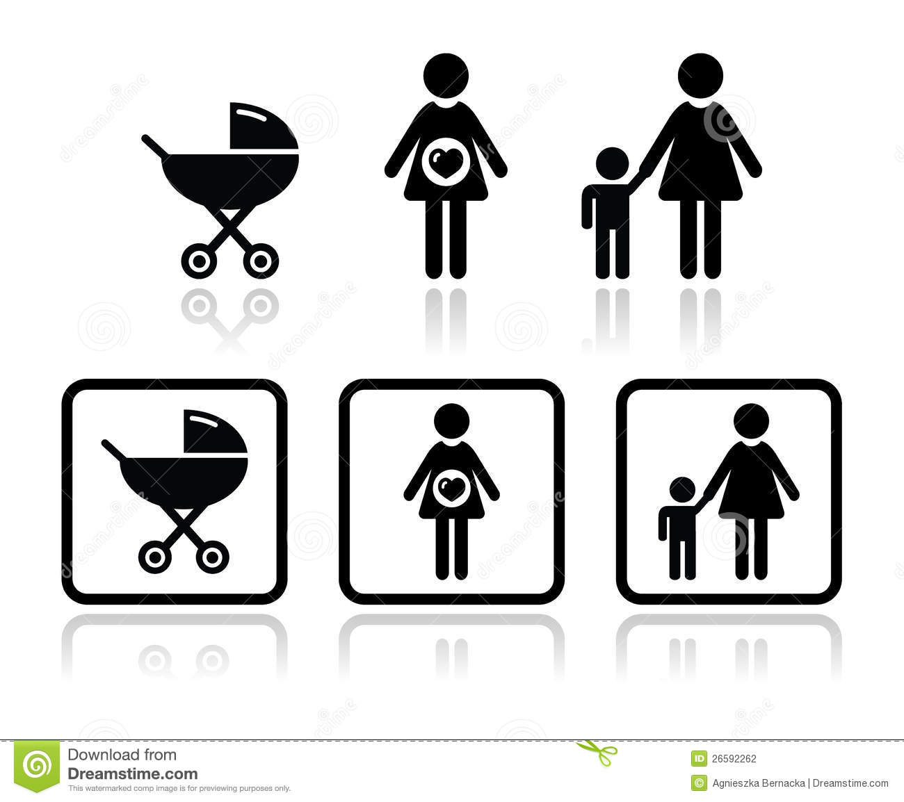 Pregnant Woman With Baby Carriage Royalty Free Stock Photography