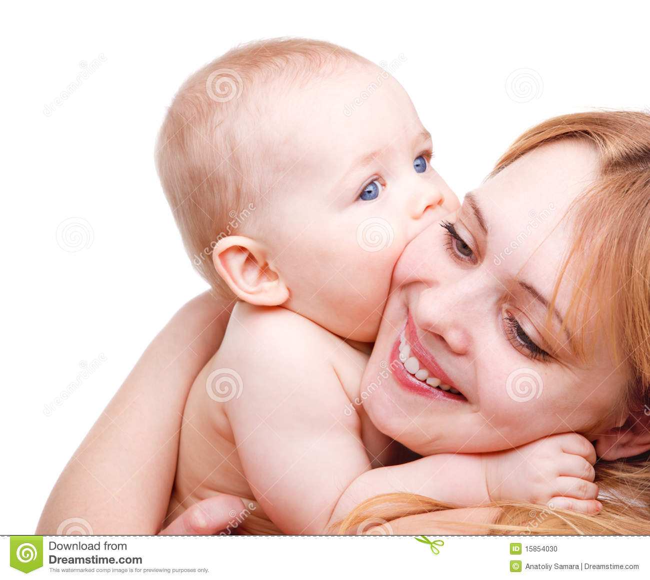 baby kissing mother stock photo - image: 15854030