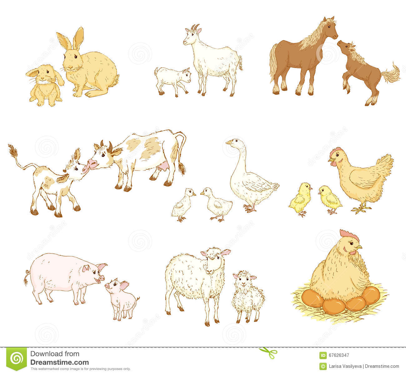 Baby And Mother Animals Stock Vector Illustration Of Holiday