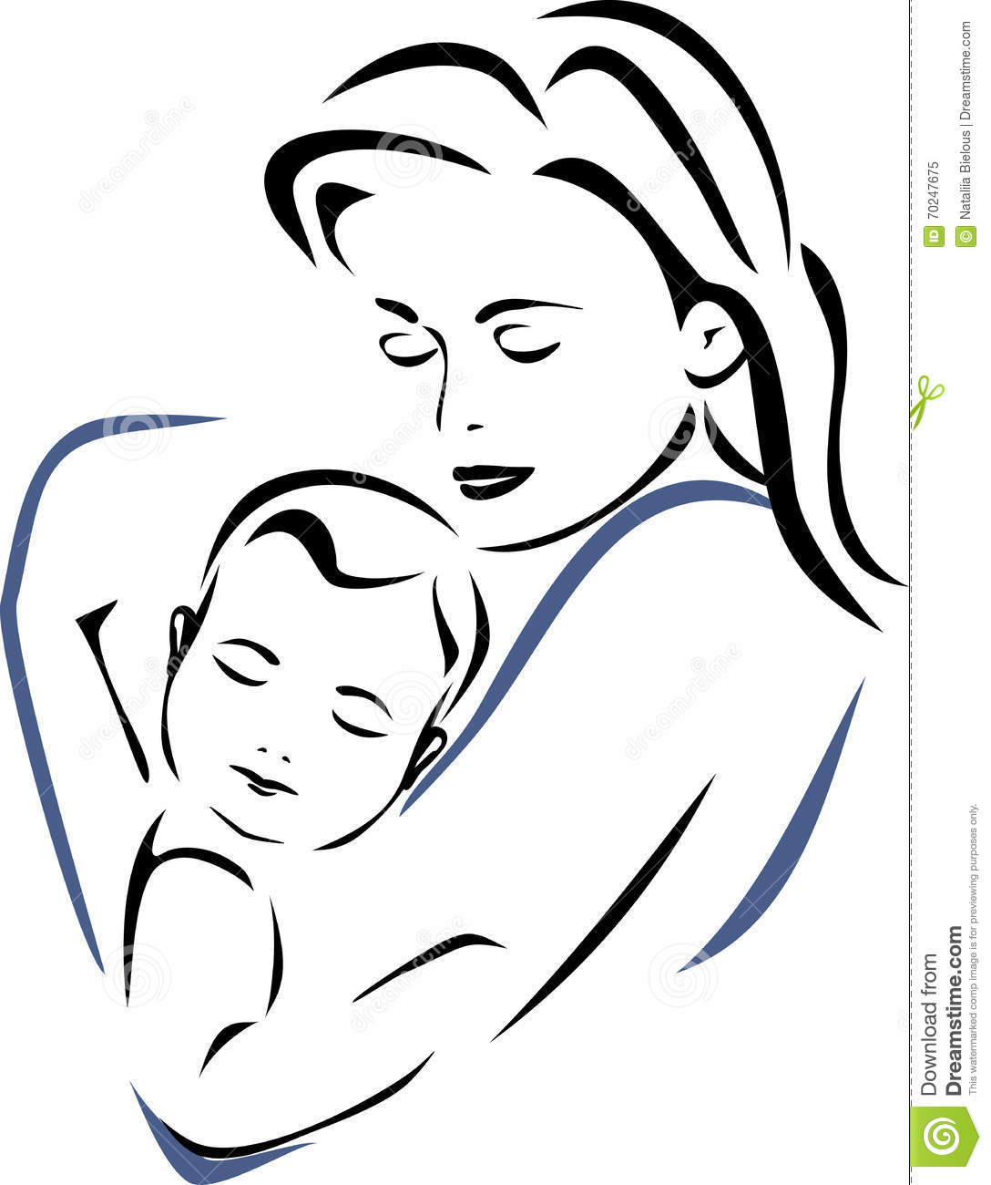 Baby And Mother Outline Drawing Stock Vector