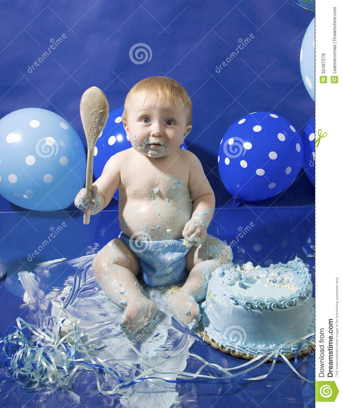 Baby S First Cake Smash Party Stock Image Image 32497279