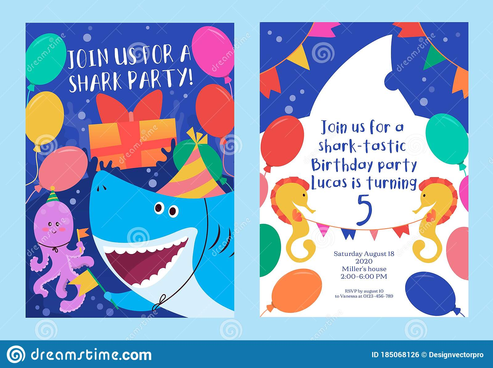 Baby Shark Colourful Party Invitation Template Stock Vector Illustration Of Information Decor 185068126