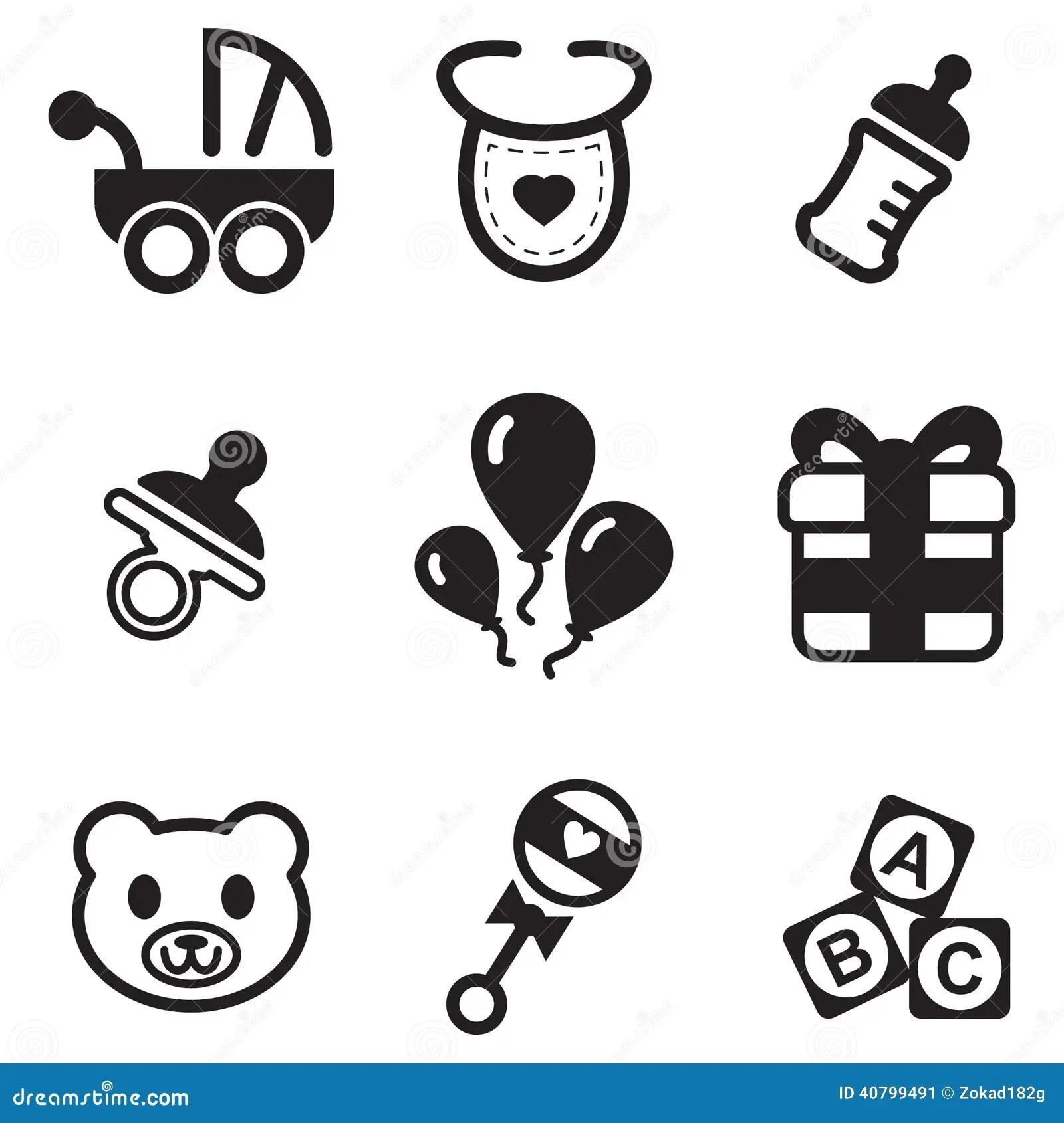 Baby Shower Icons Stock Vector Illustration Of Newborn