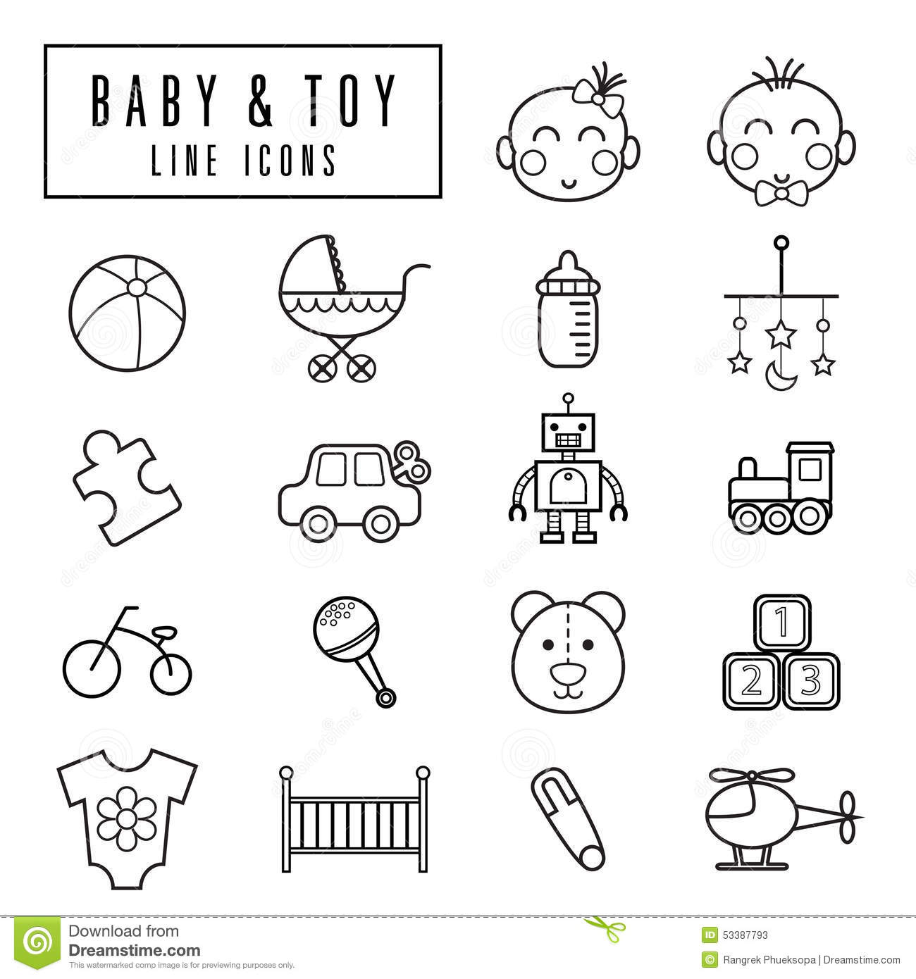 Baby And Toy Icons Stock Vector Illustration Of Babe