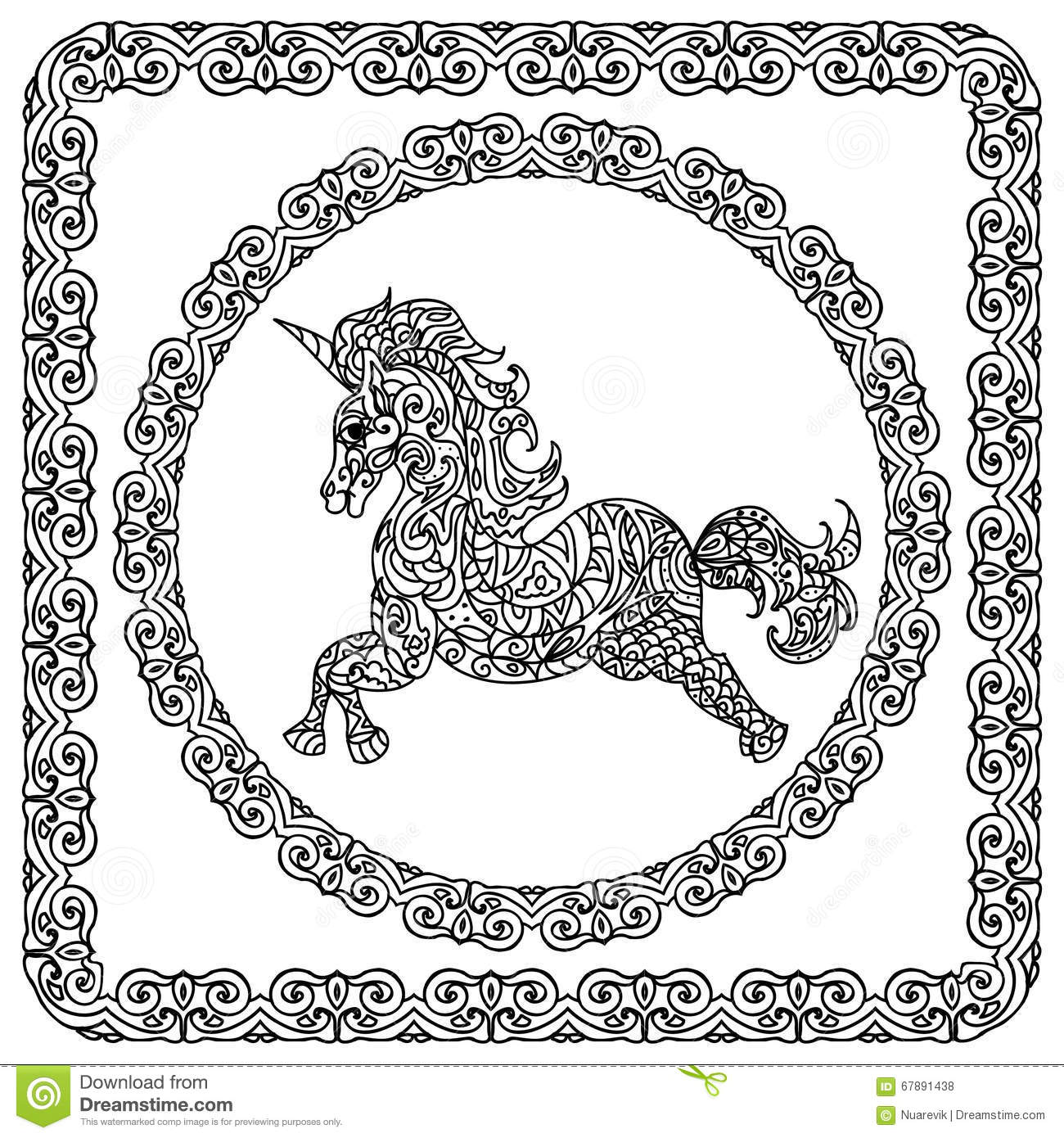 Unicorn With Mandala And Paisley Ornament Horizontal Adult Coloring Page Stock Illustration