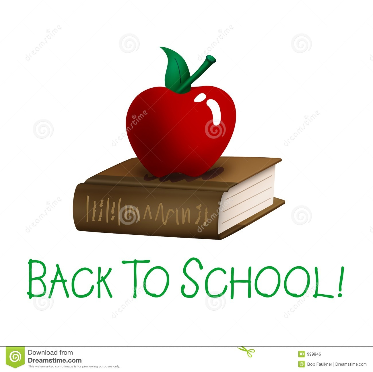 Back To School Apple And Book Stock Illustration