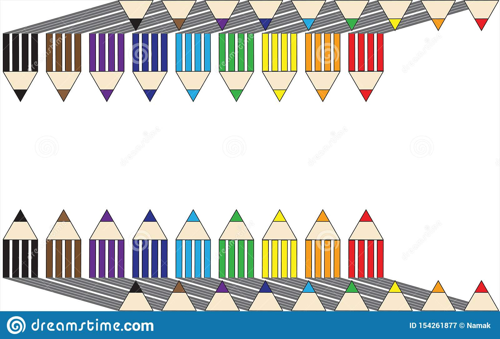 Back To School Colored Pencils Icons Top And Bottom On A