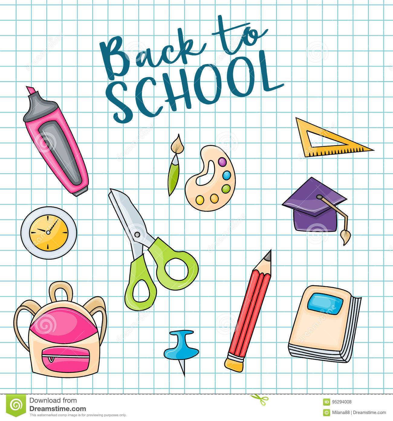 Back To School Doodle Clip Art Greeting Card Stock Vector