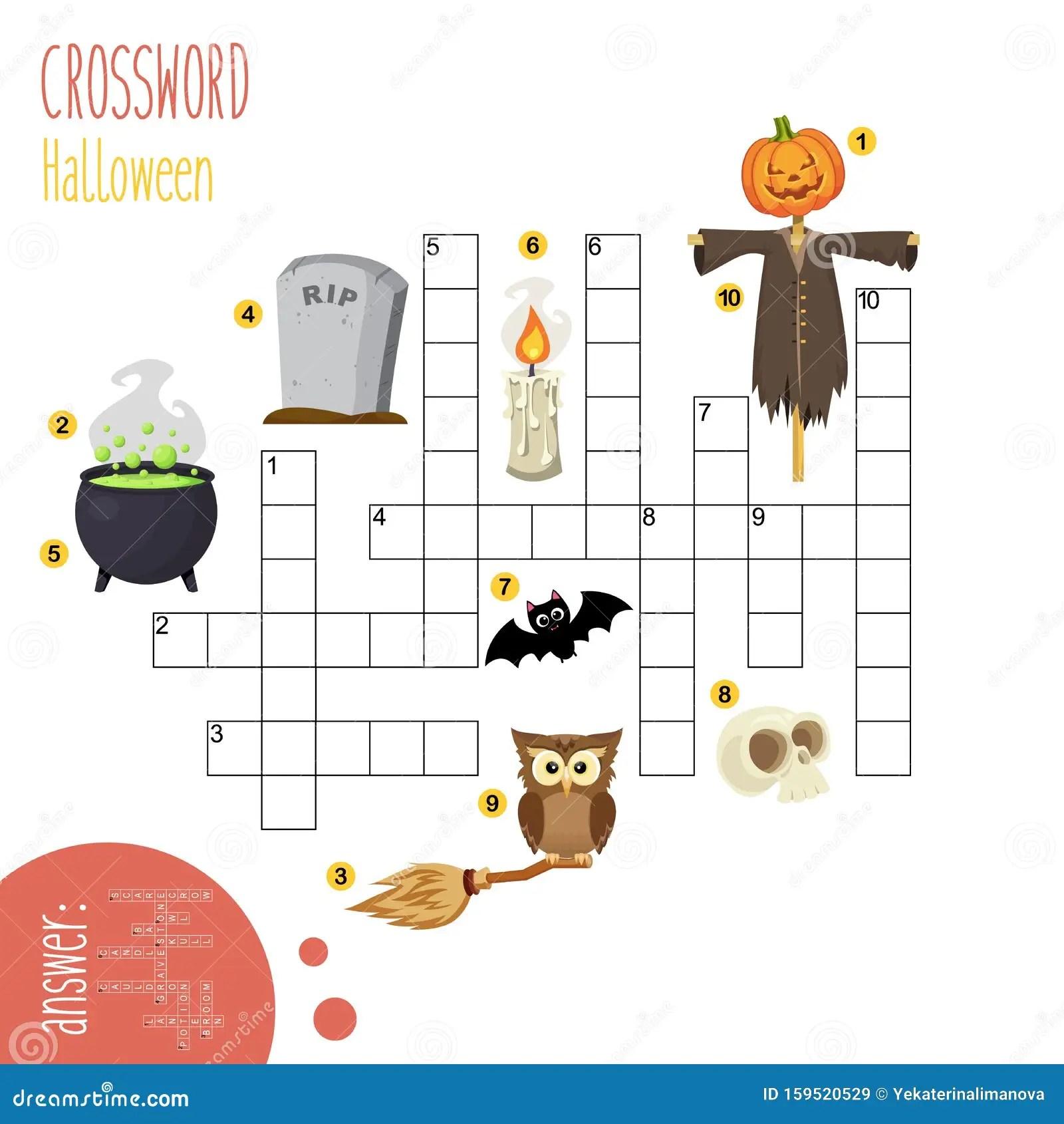 Back To School Easy Crossword Worksheet Stock Vector