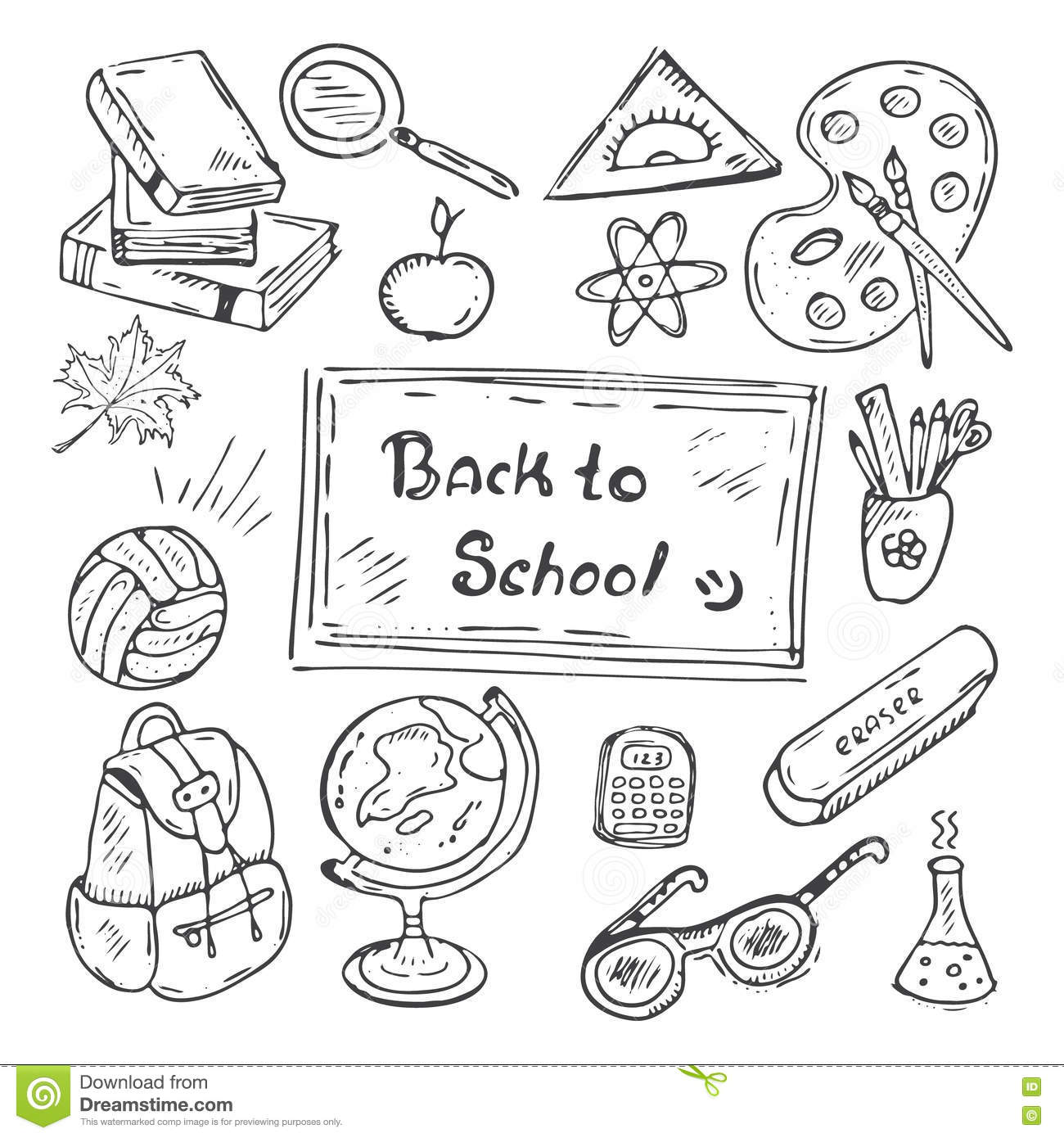 Back To School Hand Drawn Doodle Set Stock Vector