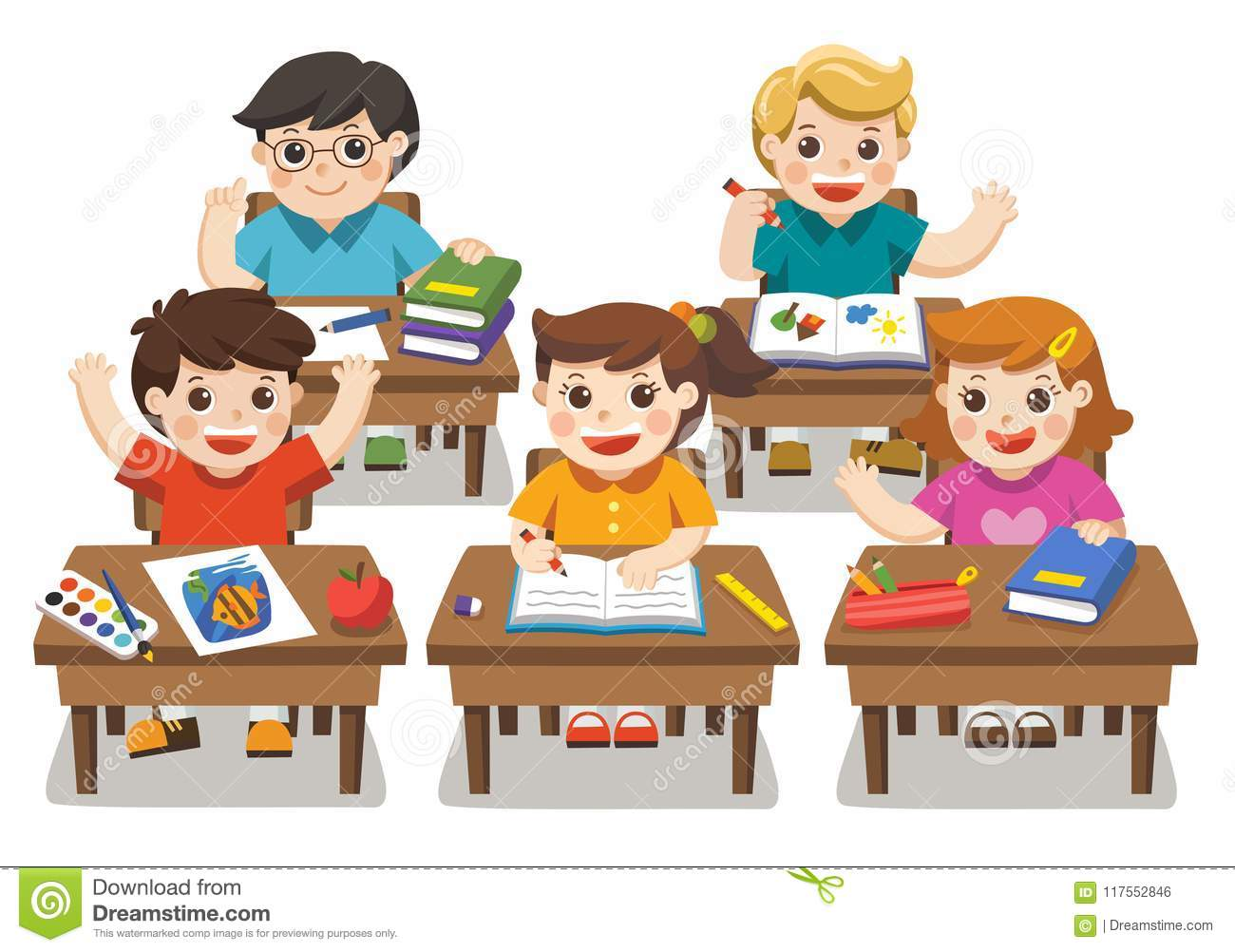 Back To School Happy Students Studying Stock Vector