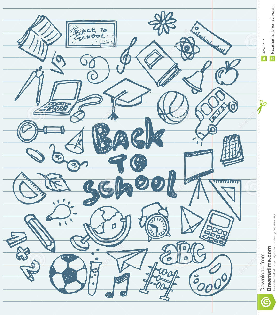 Back To School Sketchy Doodles Stock Vector Image 32503695