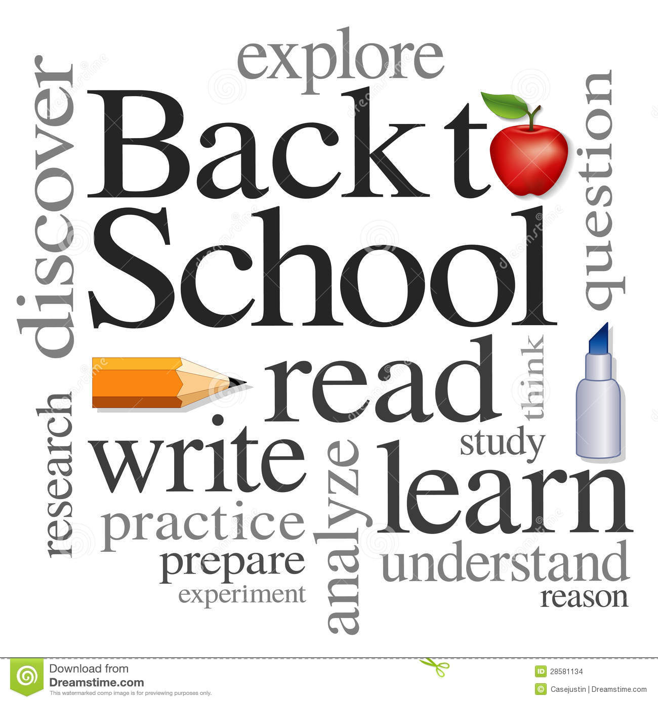 Back To School Word Cloud Stock Vector Illustration Of