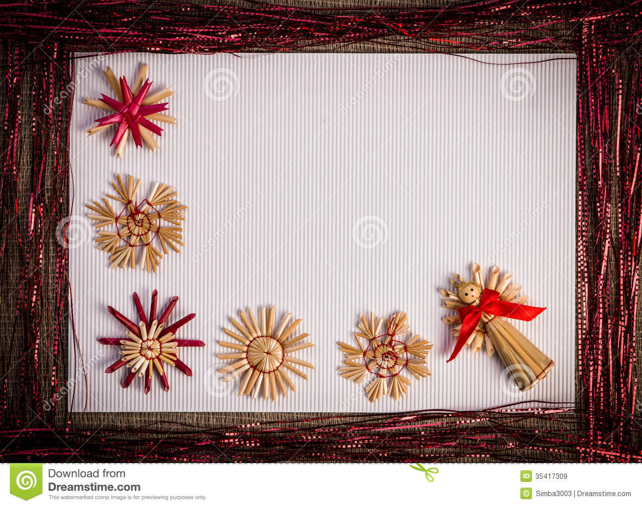 Background For Christmas Greeting Card Holiday Straw