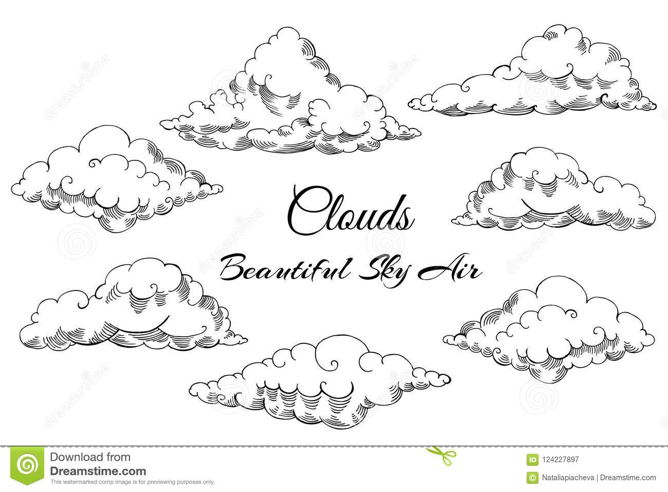 Background With Clouds Sketches Stock Vector
