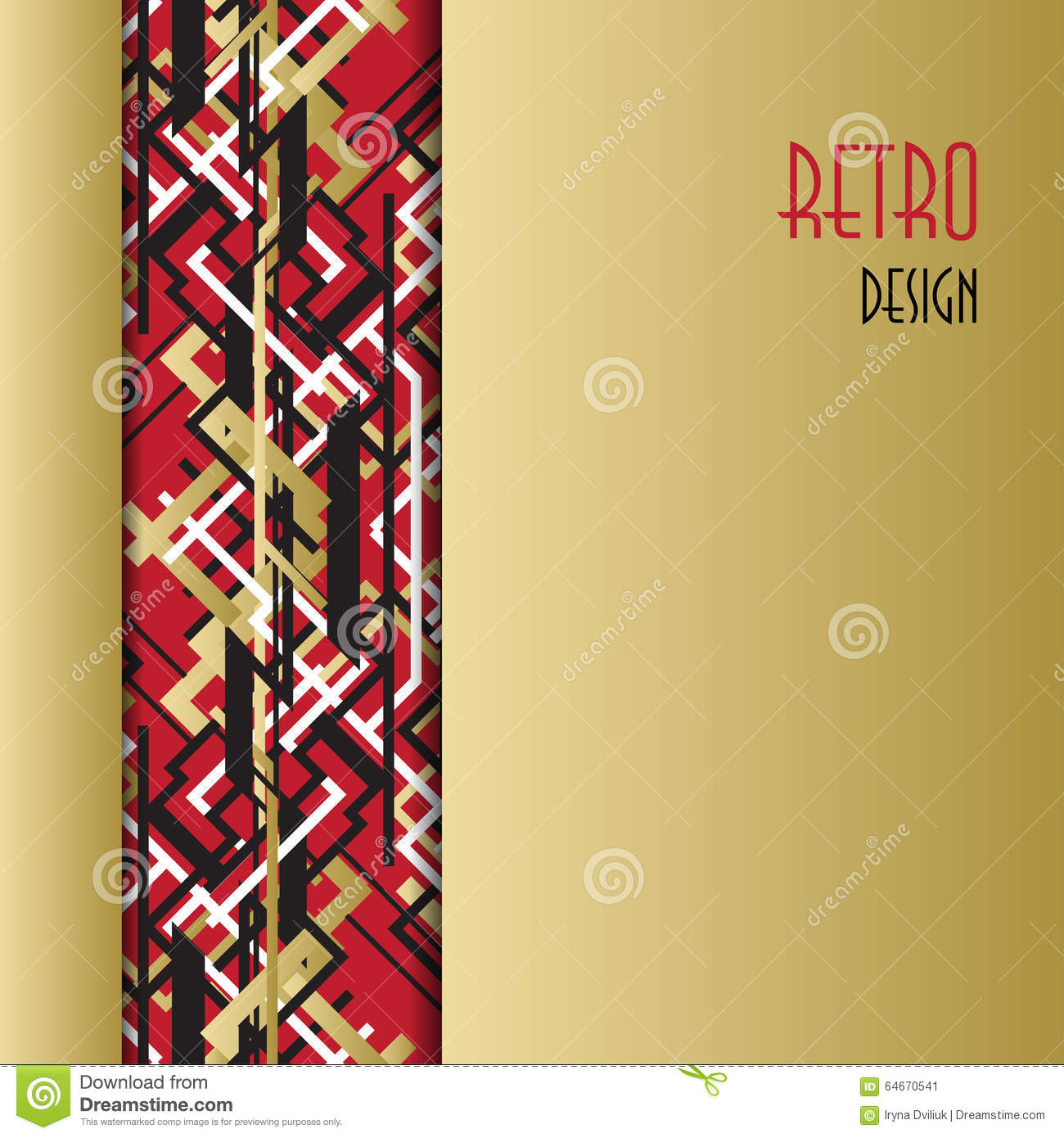 Background With Golden Red Black Art Deco Outline Style