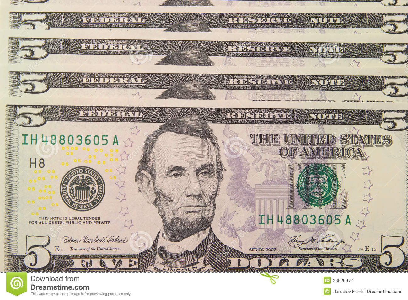 Background With Money Us 5 Dollar Bills Stock Image