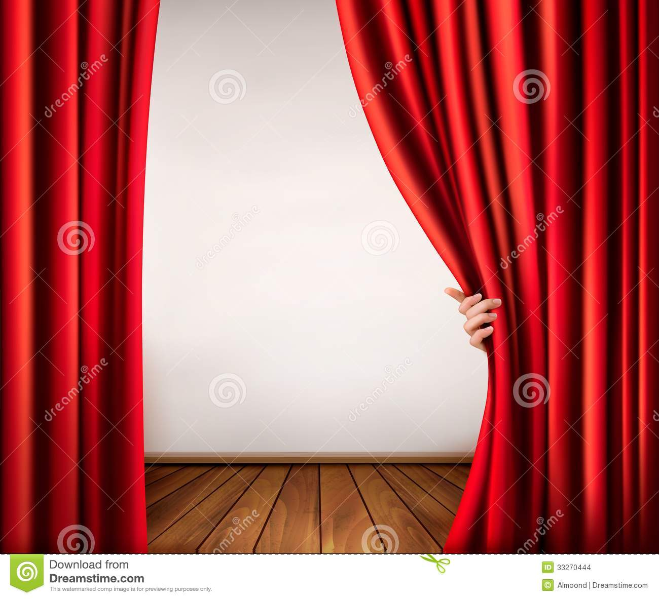 Background With Red Velvet Curtain And Hand Stock Images Image 33270444