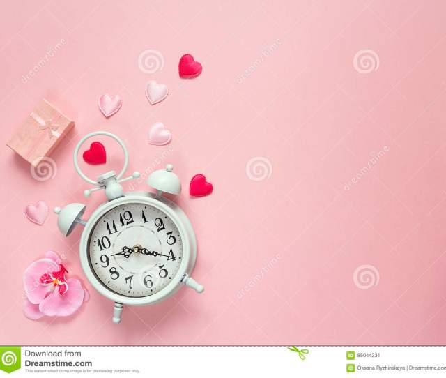 Background With White Alarm Clock Gift Box Orchid Flower And H