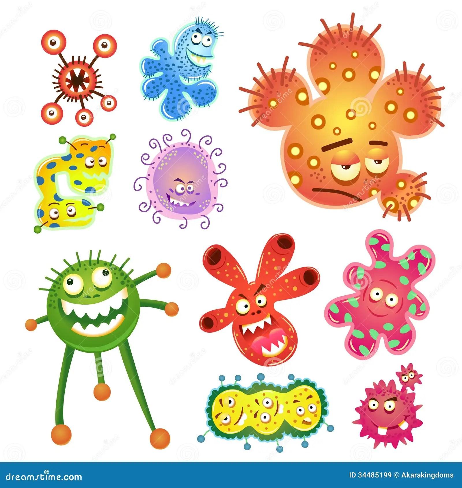 Bacterias E Desenhos Animados Do Virus Ilustracao Do Vetor