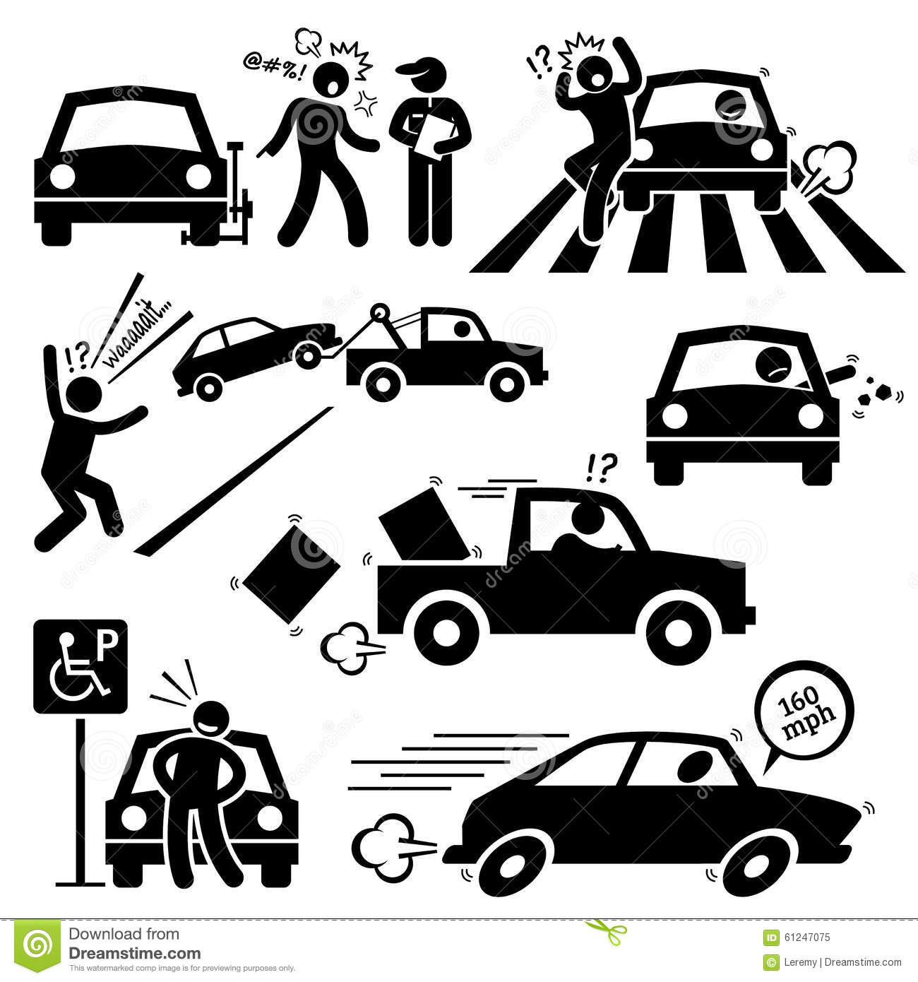 Bad Car Driver Furious Driving Clipart Stock Vector