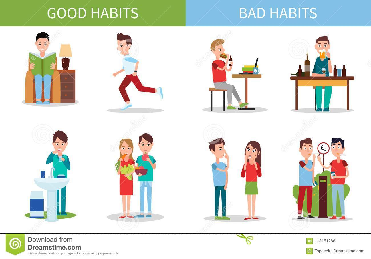 Bad And Good Habits Poster Set Vector Illustration Stock