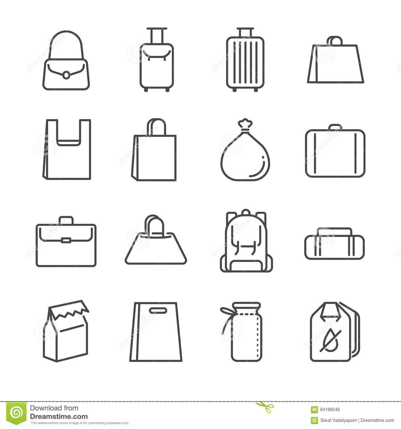 Bag Line Icon Set Included The Icons As Plastic Bag