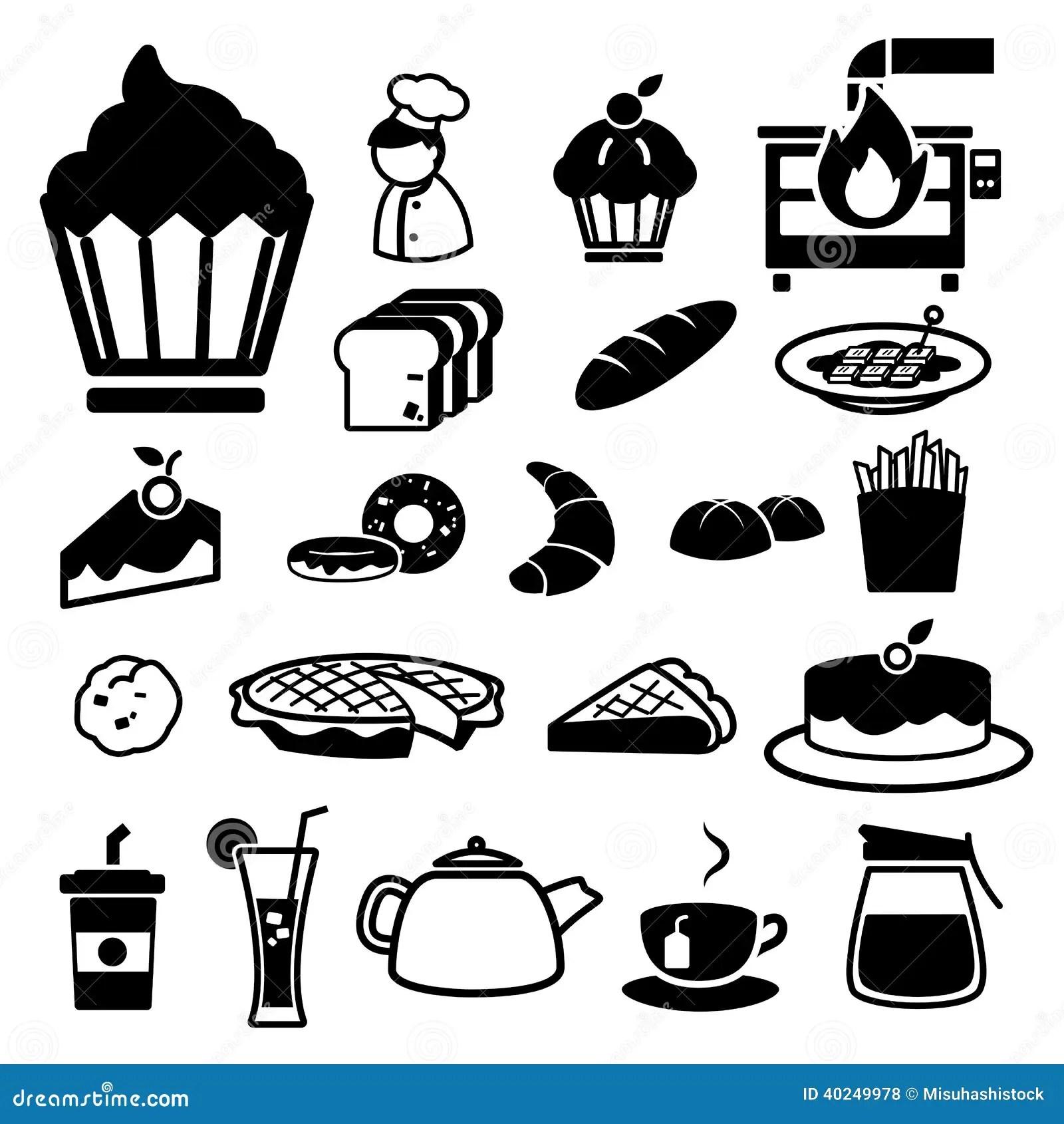 Bakery Icons Set Stock Photo