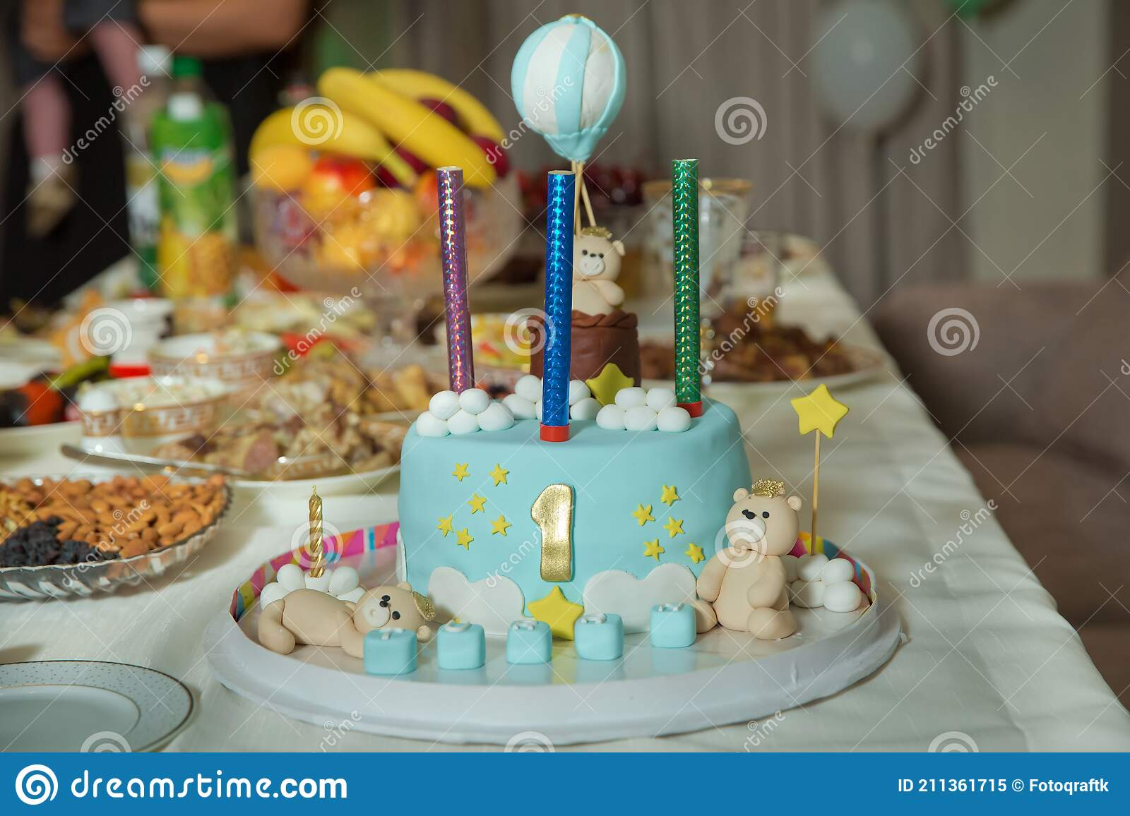 Baby Boy Bears Cake 1 Year Birthday Cake For A Blue Boy With A Number 1 Amazing Cake For Boy S First Birthday Blue And Whit Editorial Image Image Of Cupcake Celebration 211361715