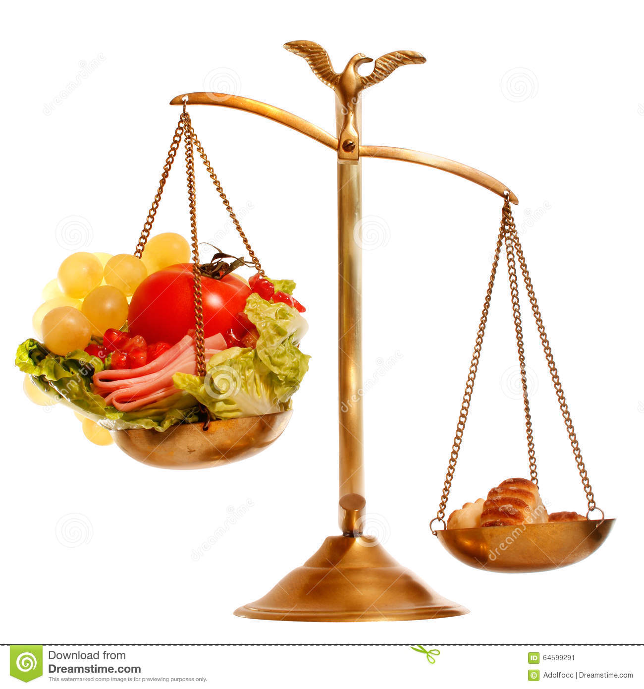 Balance With Healthy Vs Heavy Food Stock Image