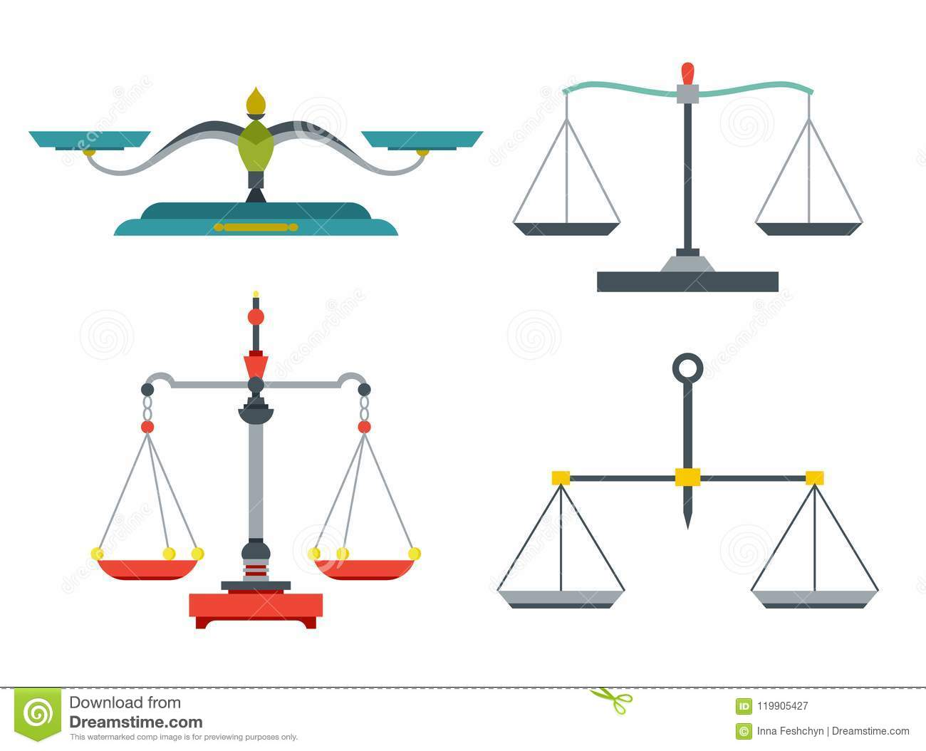 Balance Scales With Weight And Equal Pans Device To