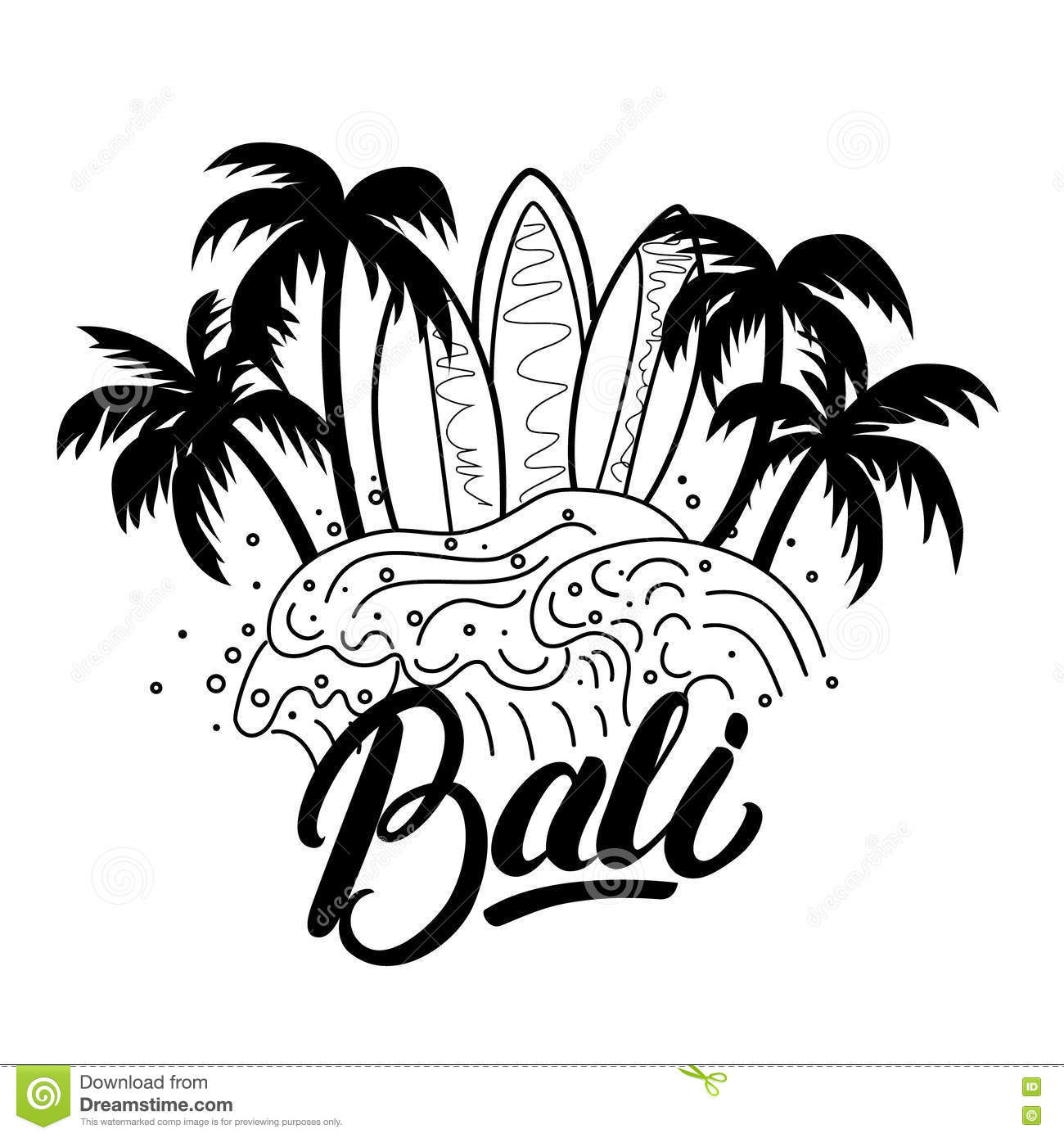 Bali Hand Lettering Surf Poster Tee Print Stock Vector