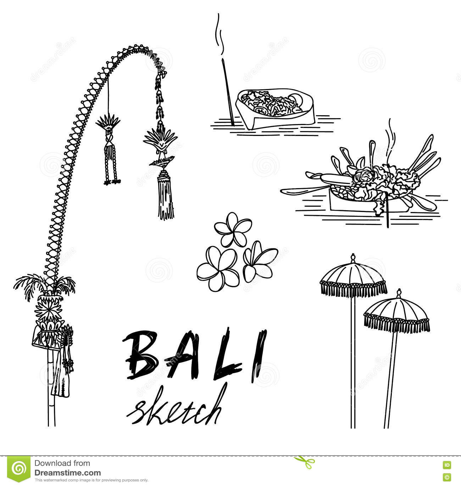 Bali Sketch Penjor For Galungan Ceremonial Umbrellas