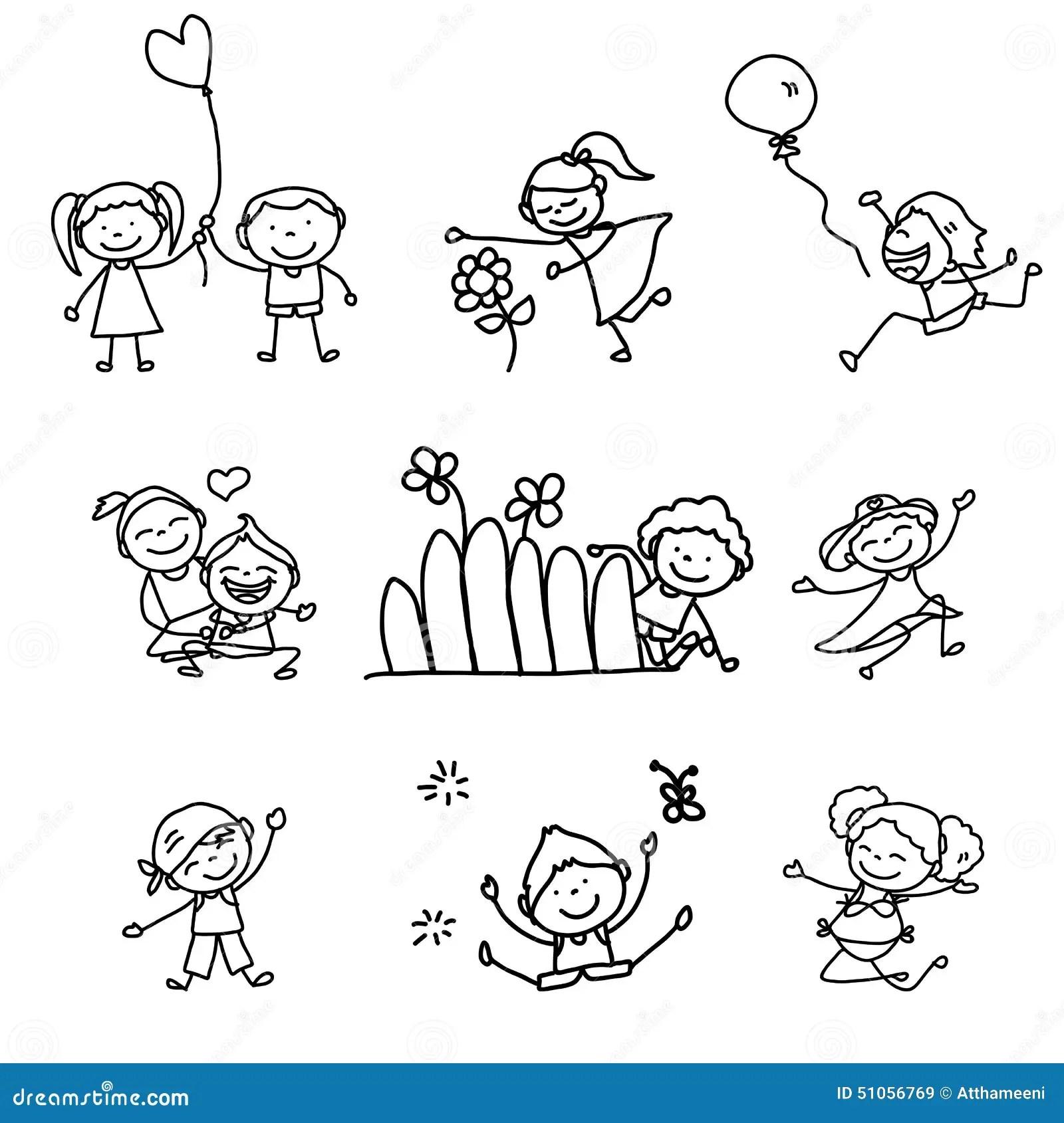 Bambini Felici Del Fumetto Del Disegno Della Mano