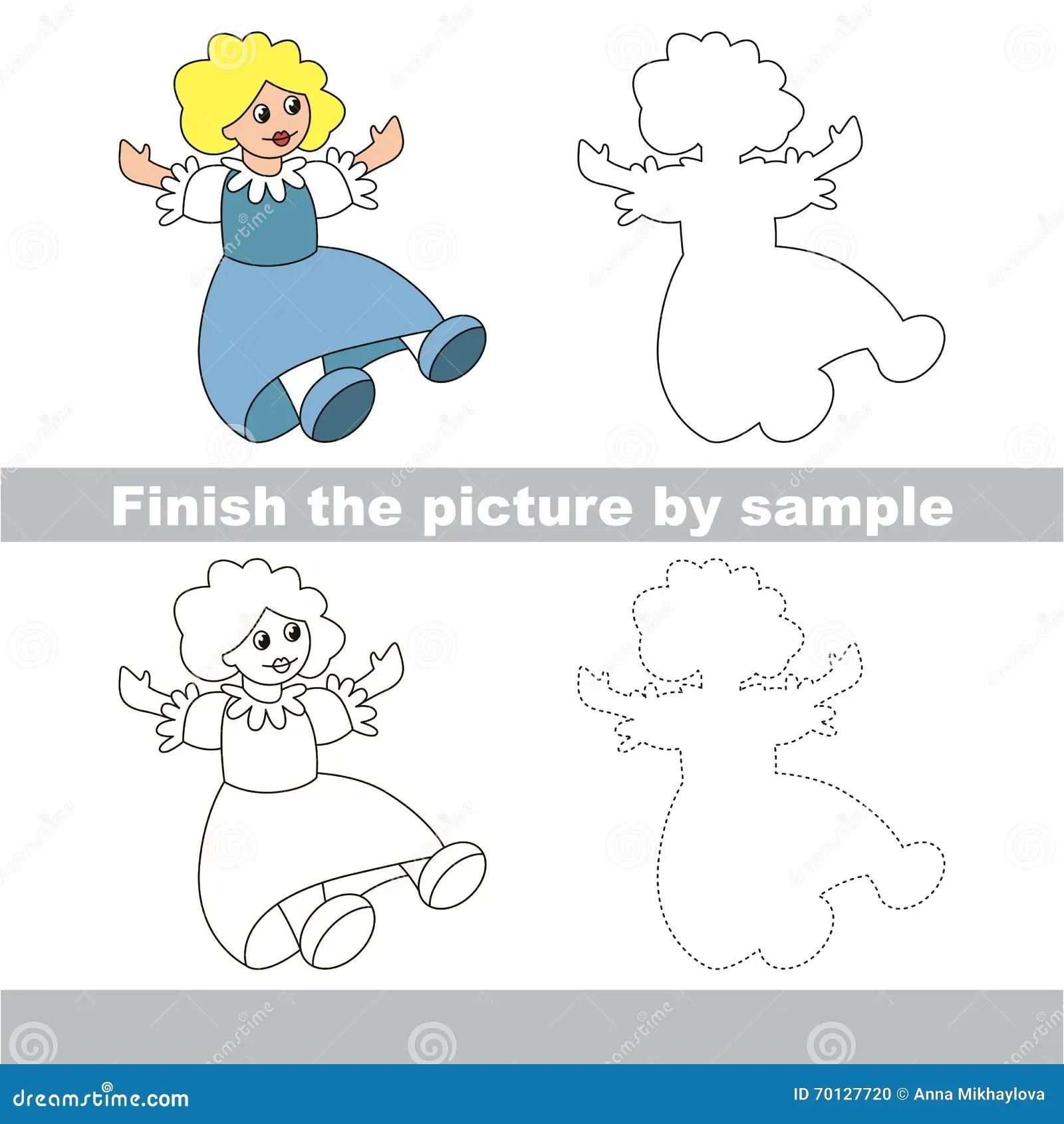 Bambola Blu Foglio Di Lavoro Del Disegno Illustrazione