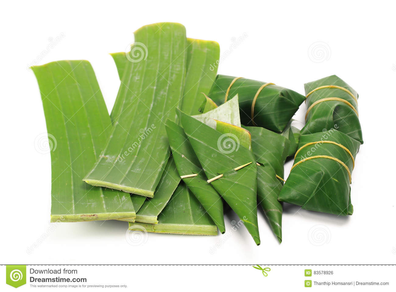 Banana Leaf On Blank Plate For Edit Food Stock Photo