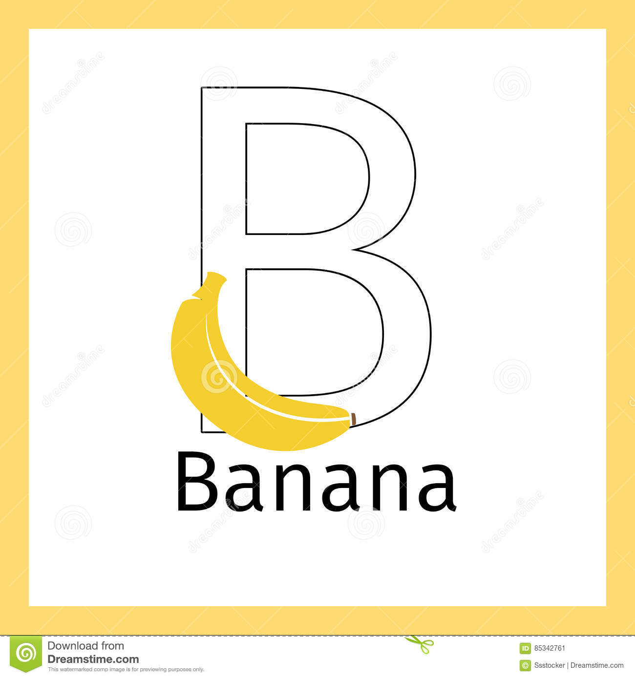 Banana And Letter B Coloring Page Stock Vector