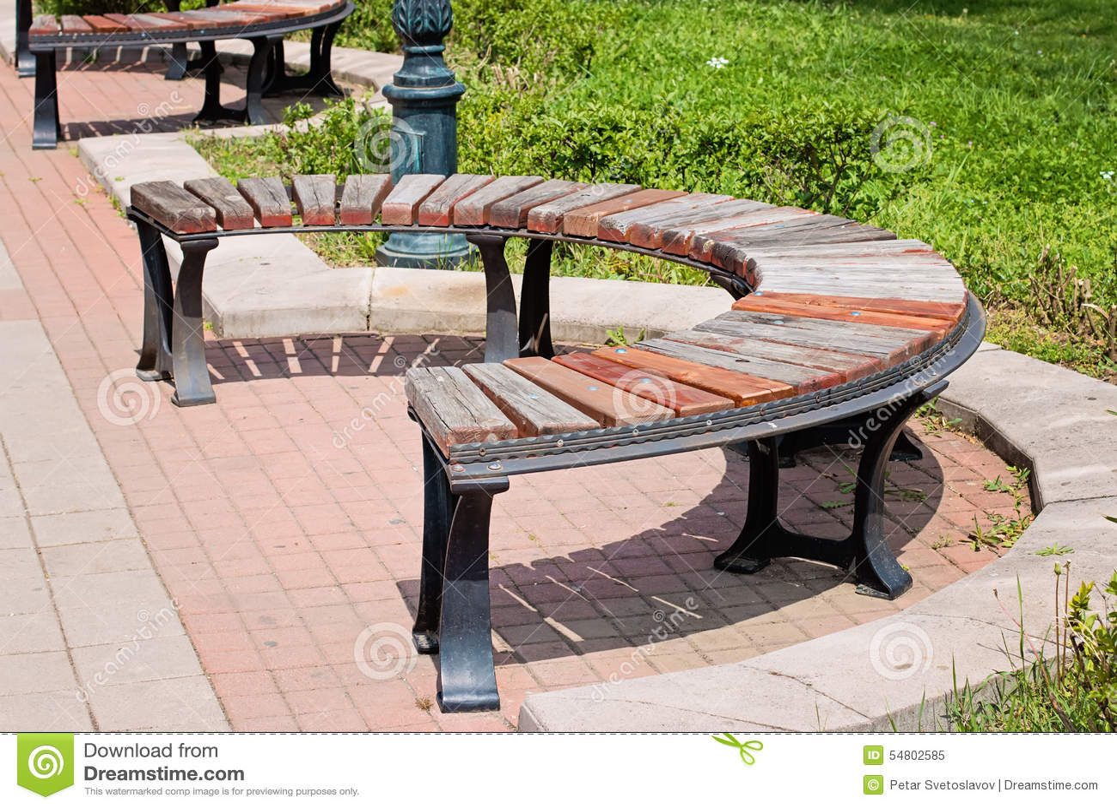 Banc Rond En Bois En Parc Photo Stock Image 54802585