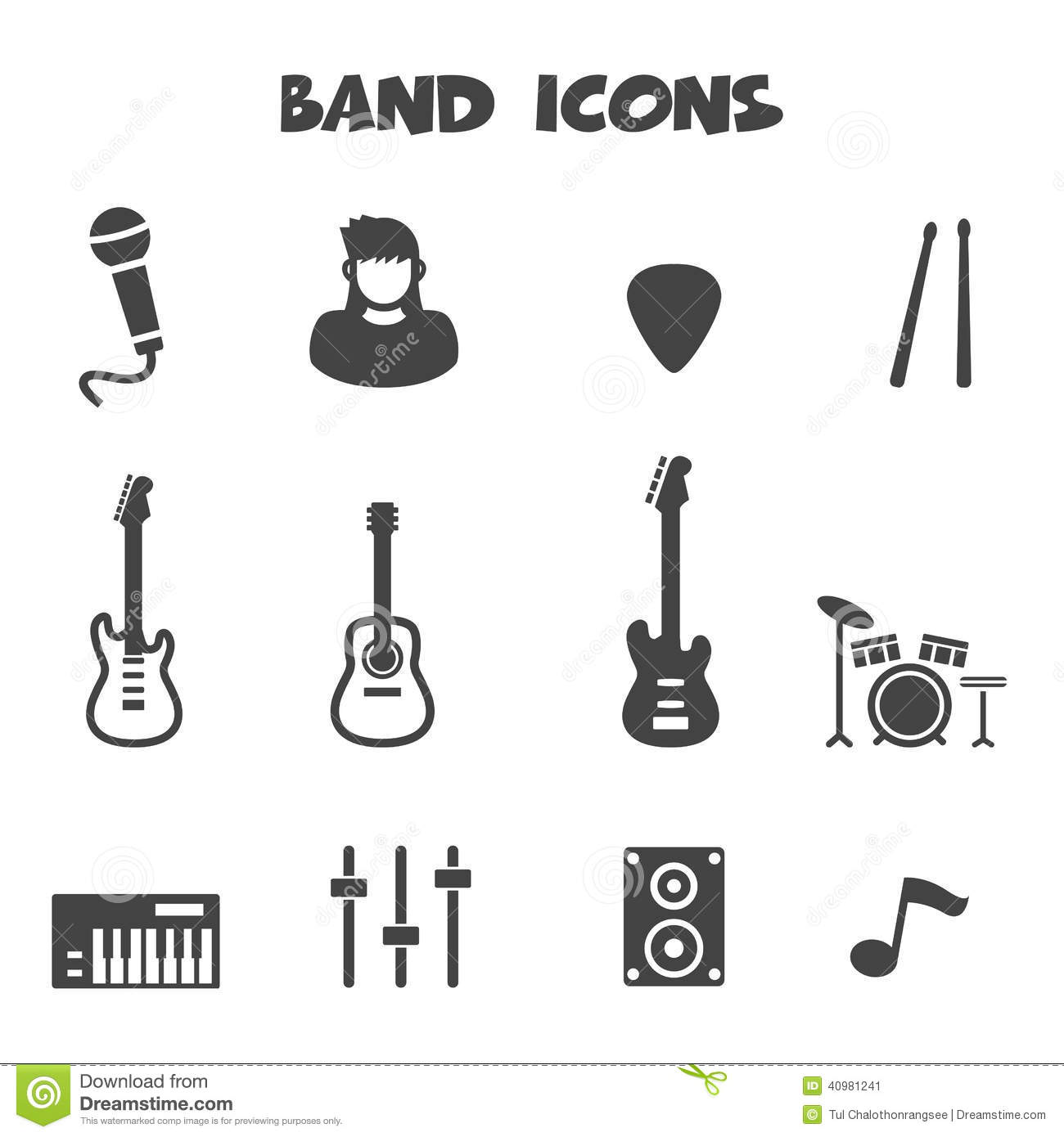 Band Icons Stock Vector