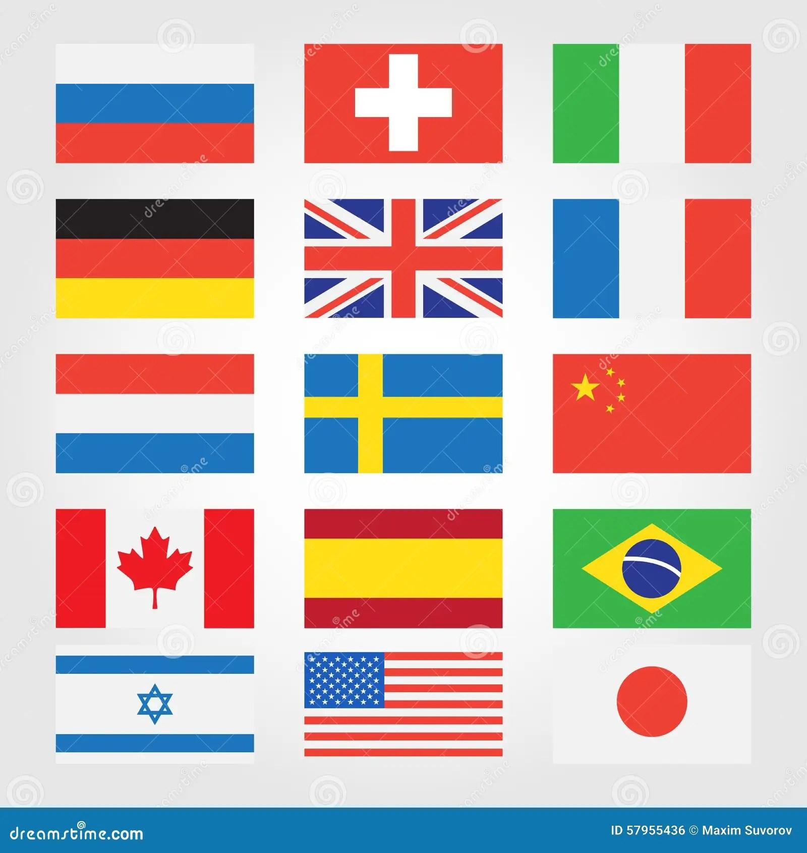 Bandeiras Dos Paises Em Todo O Mundo Ilustracao Do Vetor